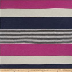 Yarn Dyed Tissue Jersey Knit Stripes Navy/Magenta