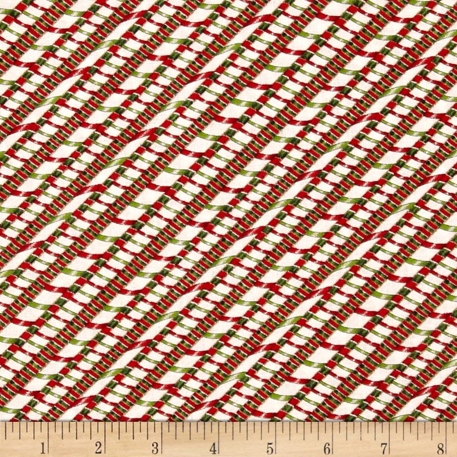 Ginger Trees Diagonal Ribbon Stripes White/Green/Red