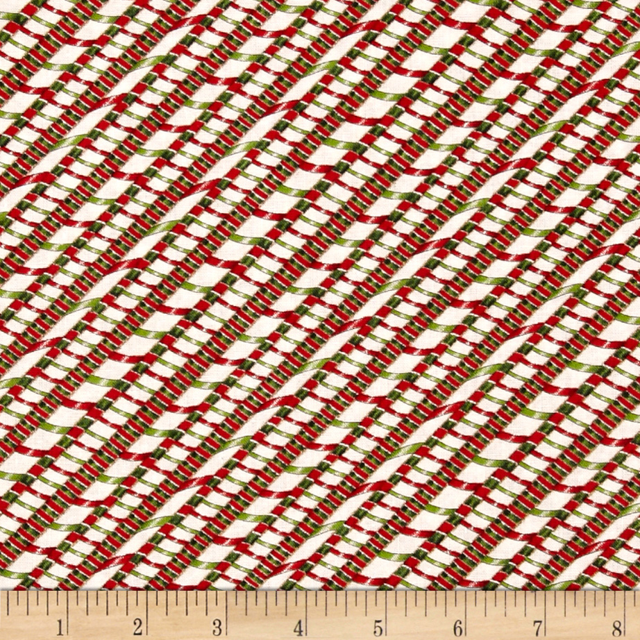 Ginger Trees Diagonal Ribbon Stripes White/Green/Red Fabric