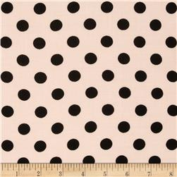 Rayon Challis Medium Dots Blush/Black