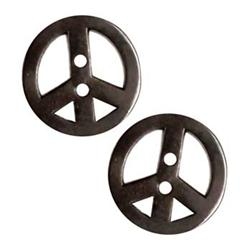 "Metal Button 7/8"" Peace Black"