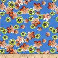 Designer Rayon Challis Flower Blooms Blue/Orange