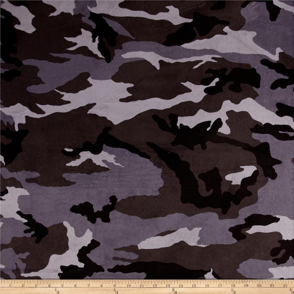 Minky Camo Grey/Black