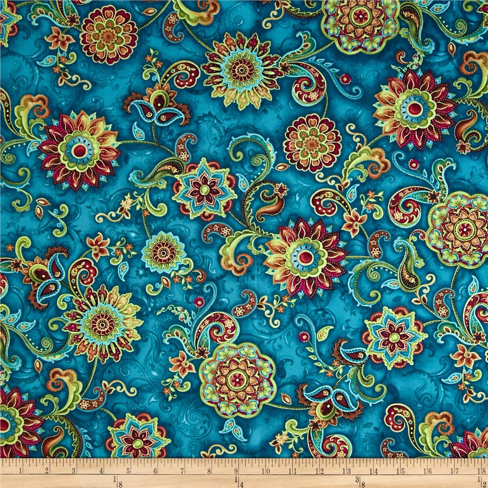 Timeless Treasures Bellagio Metallic Medallion Floral Teal