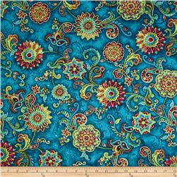 Bellagio Metallic Medallion Floral Teal