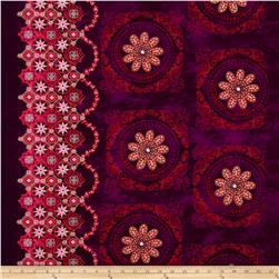 Kanvas Bohemian Rhapsody Metallic Bohemian Border Medallion Wineberry