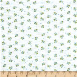 Stretch Rayon Blend Jersey Knit Dainty Blooms White/Blue