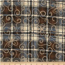 Embroidered Madras Plaid Brown/Black/Cream
