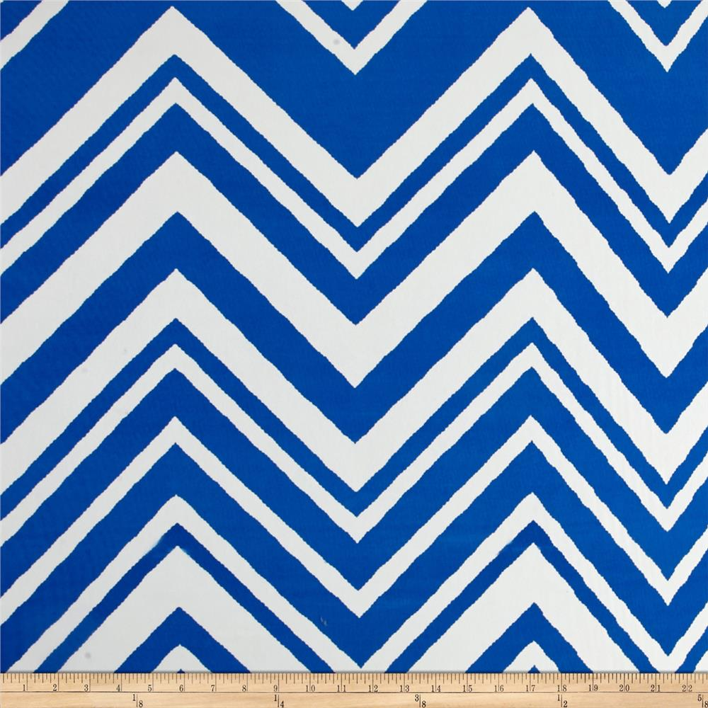 Polyester Dress Crepe Woven Zig Zag Royal/White
