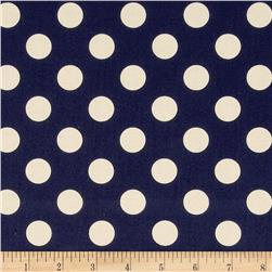 Riley Blake Le Creme Basics Medium Dots Navy/Cream