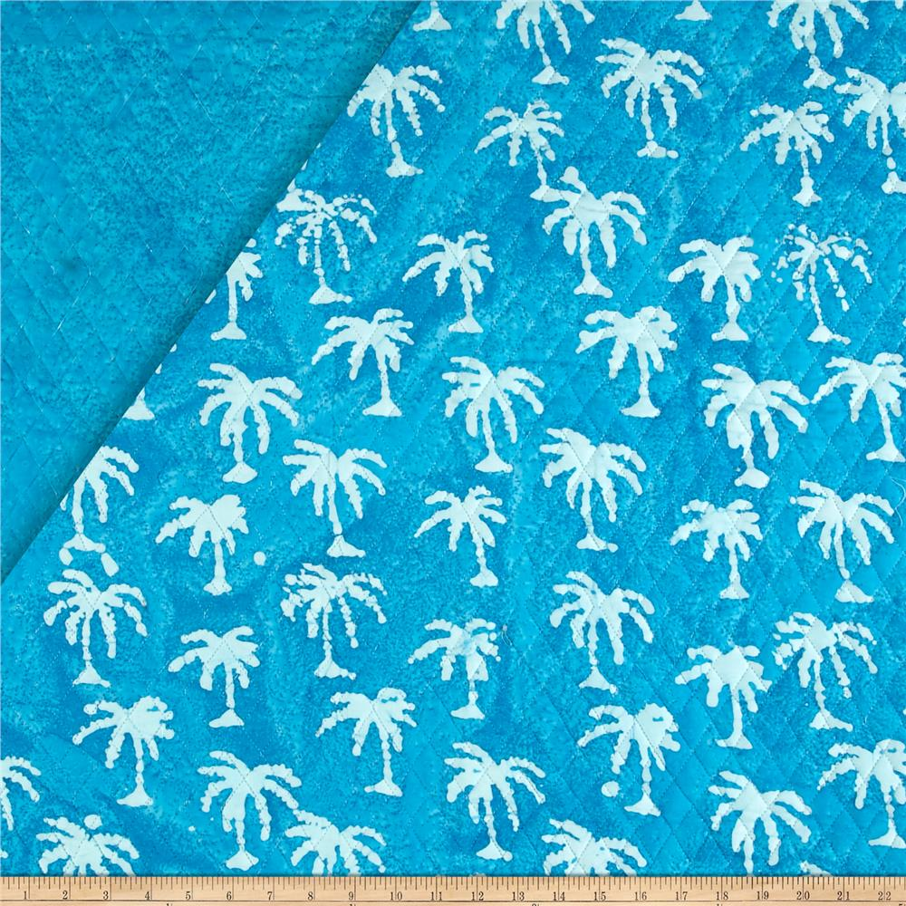 Double Face Quilted Indian Batik Small Palm Tree Aqua/White