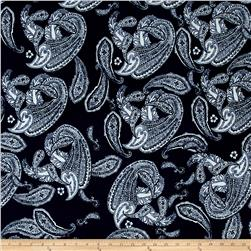Alanna Resort ITY Knit Paisley Prints Navy/White