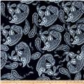 Alanna Resort Stretch ITY Knit Paisley Prints Navy/White