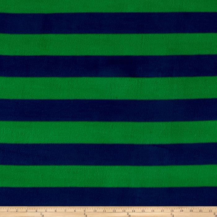Go Team Fleece Kelly Green/Navy Fabric By The Yard