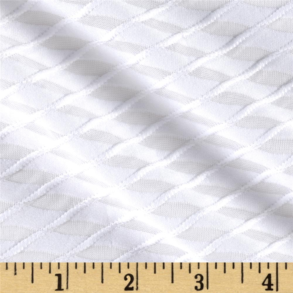 Novelty Knit Diamond Weave White