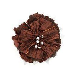 Florentina Jeweled Brooch 4'' x 4'' Brown
