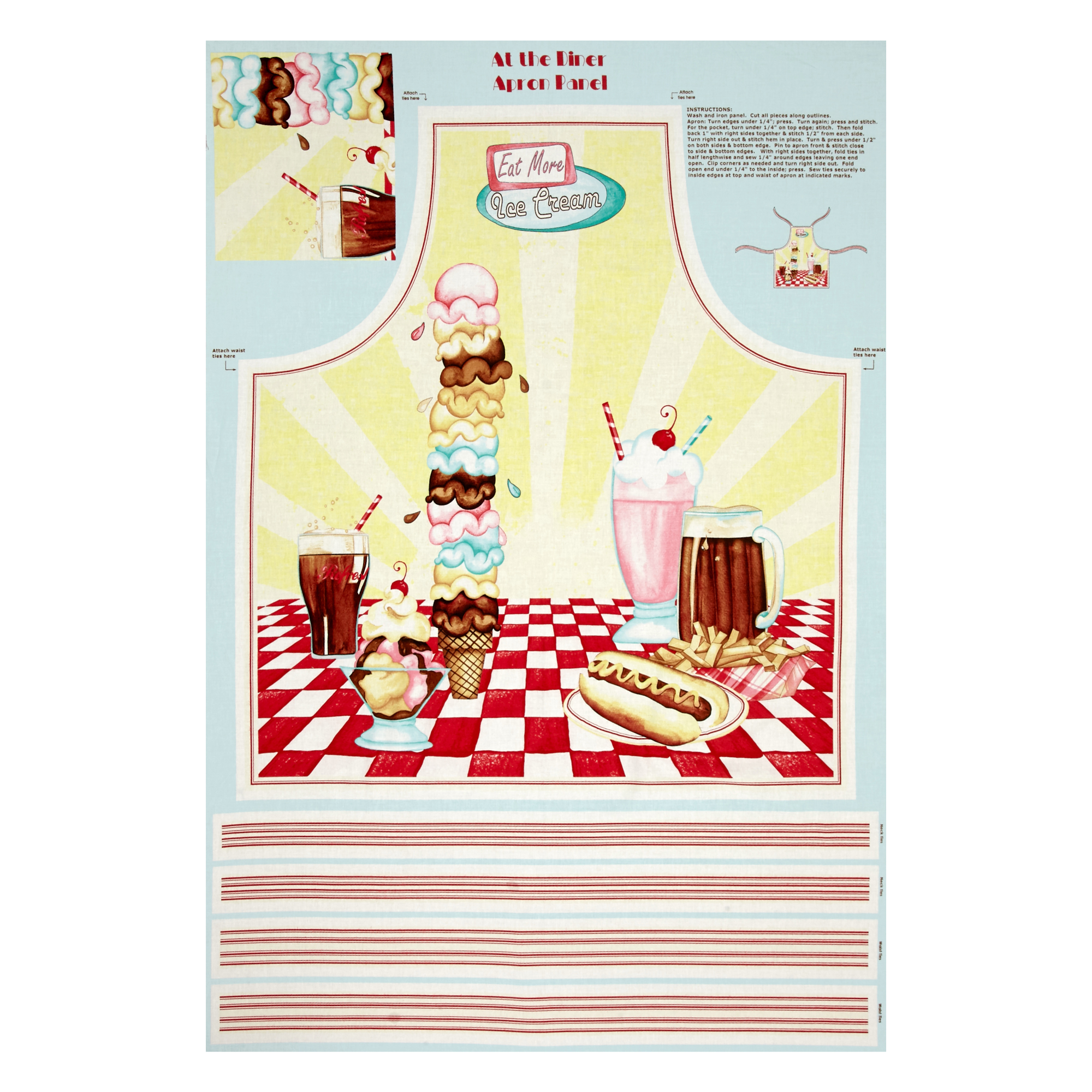 Old Fashioned Aprons & Patterns At The Diner Apron 24 Panel Multi Fabric By The Yard $9.48 AT vintagedancer.com