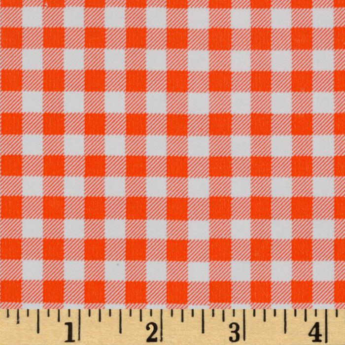 Oil Cloth Gingham Orange Fabric By The Yard