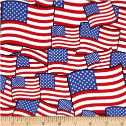 Patriotic Packed Flags Red Fabric