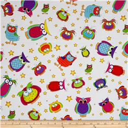Happy Owl-O-Ween Owls Everywhere Toss Ghost White