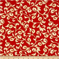 Noel Metallic Scroll Red/Cream