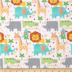 Comfy Flannel Jungle Animals White