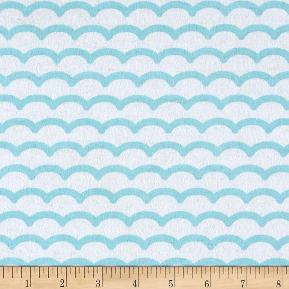 Comfy Flannel Waves White/Blue