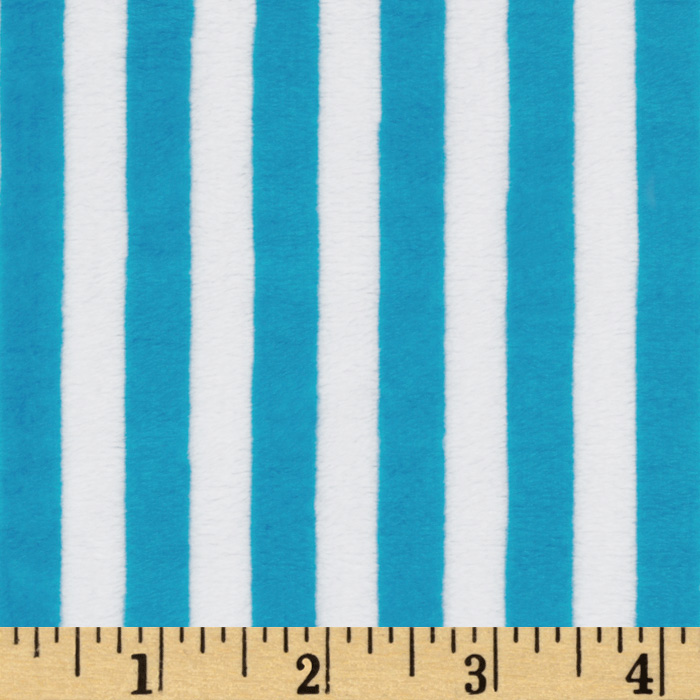 Minky Cuddle Striped Azure/White Fabric