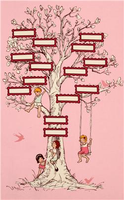 Michael Miller Children at Play Family Tree Panel
