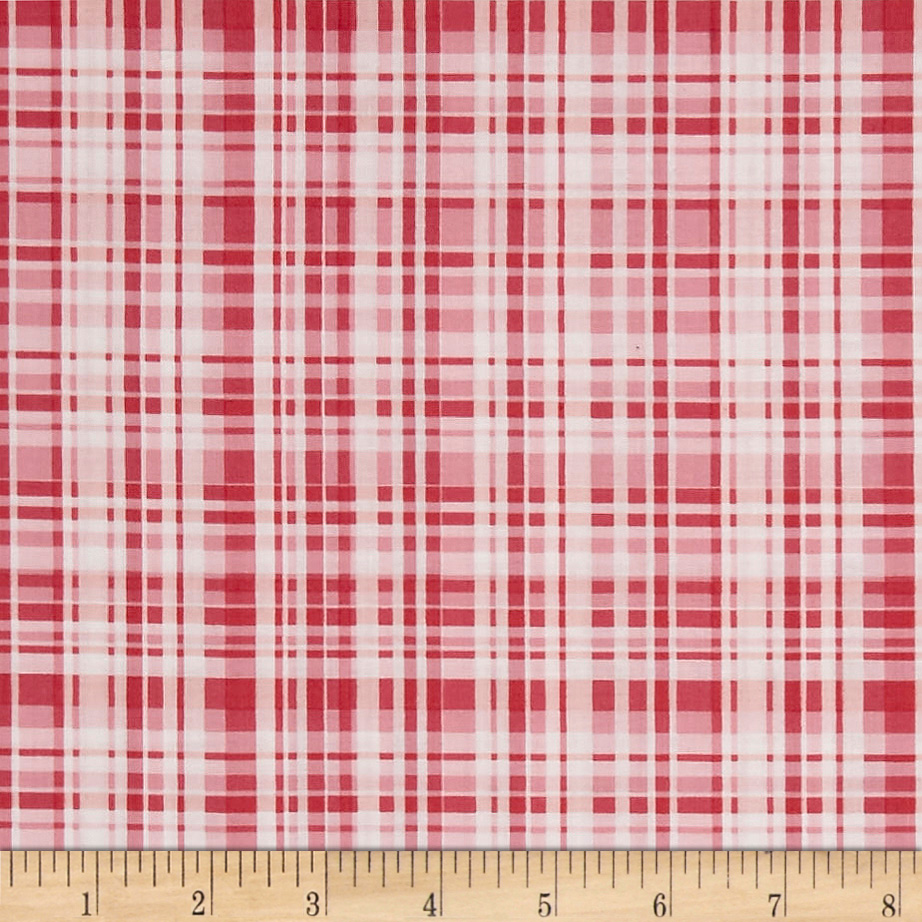 INOpets.com Anything for Pets Parents & Their Pets Poppy Garden Garden Plaid Raspberry Fabric