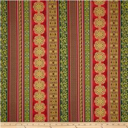 Father Frost Metallic Ornamental Stripe Green/Red Fabric