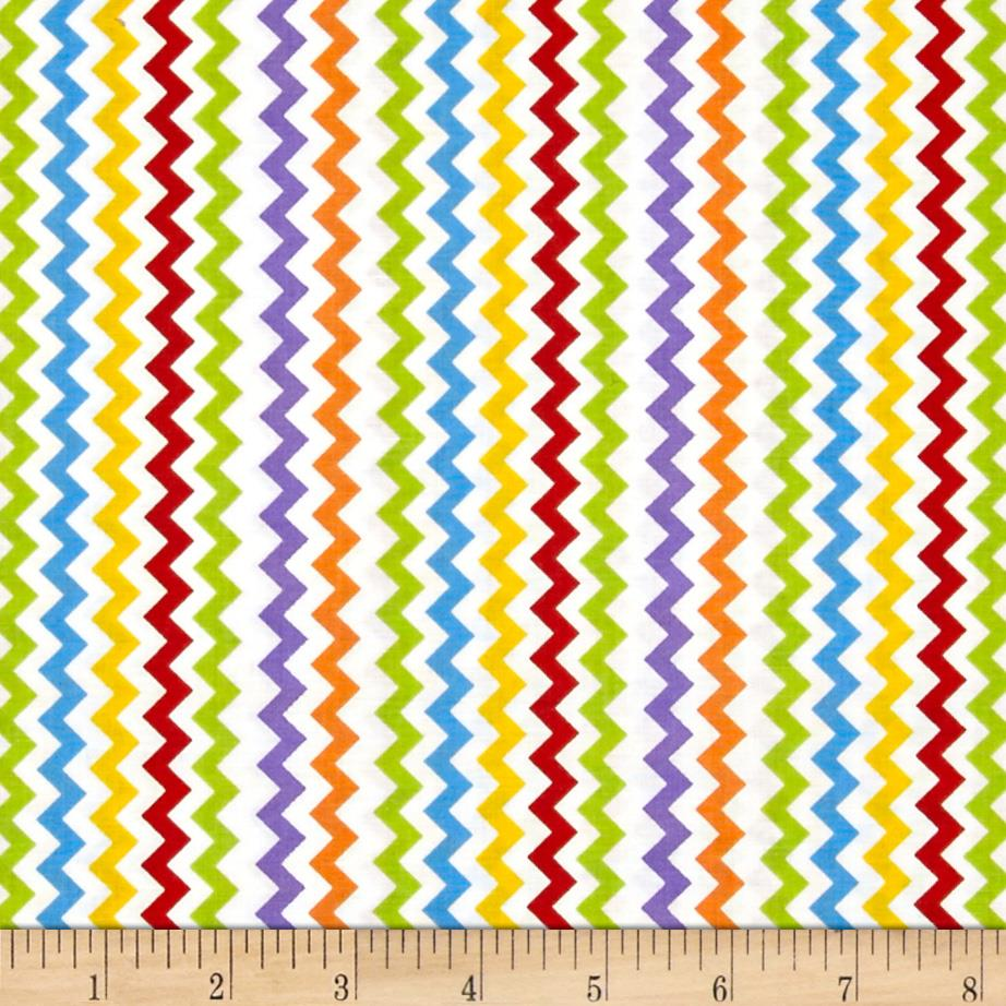 Space age chevron white multi discount designer fabric for Red space fabric