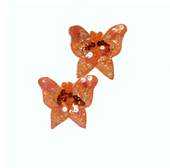 Butterfly Sequin Applique Pair Orange