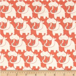 Seven Islands Double Cotton Gauze Hippos Coral