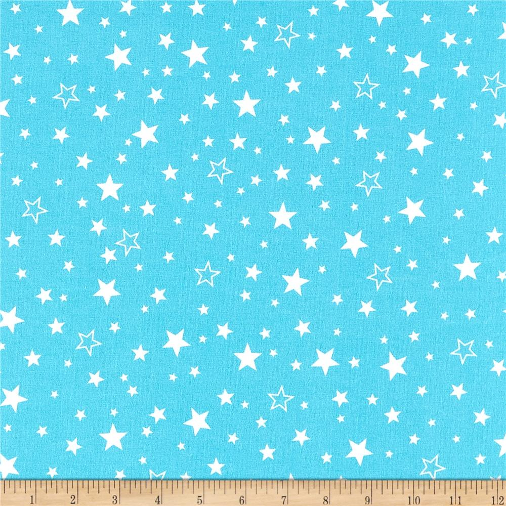 Kaufman Cozy Cotton Flannel Stars Aqua Fabric