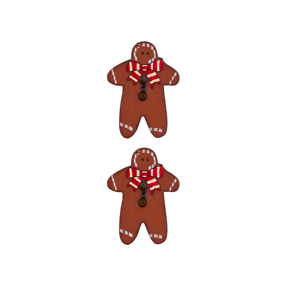 Dill Novelty Button 1'' Gingerbread Man Red