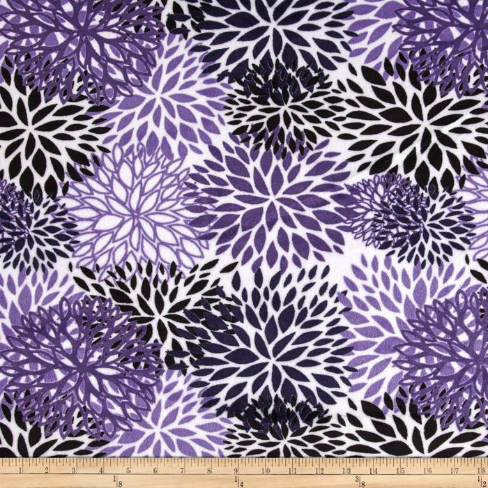 Premier Prints Mockingbird Minky Cuddle Blooms Indigo