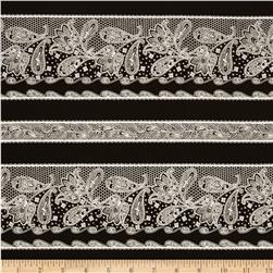 Ebony and Ivory Border Stripe Black Fabric
