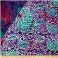 Double Face Quilted Indian Batik Paisley Purple/Teal/Fuchsia