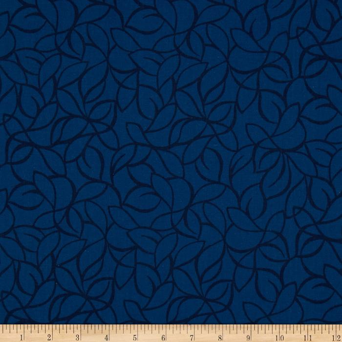 "108"" Wide Quilt Back Windsor Leaves Blue"