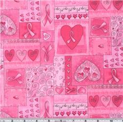 Timeless Treasures Hearts of Hope Pink