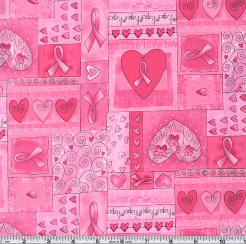 Timeless Treasures Hearts of Hope Pink Fabric