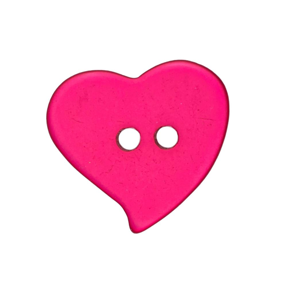 "Novelty Button 1 1/8"" Heart Curves Pomegranite"