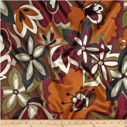 Charmeuse Satin Floral Copper/Chocolate