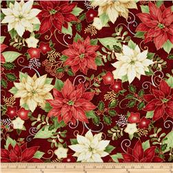 Happy Holidays Metallic Poinsettia Red