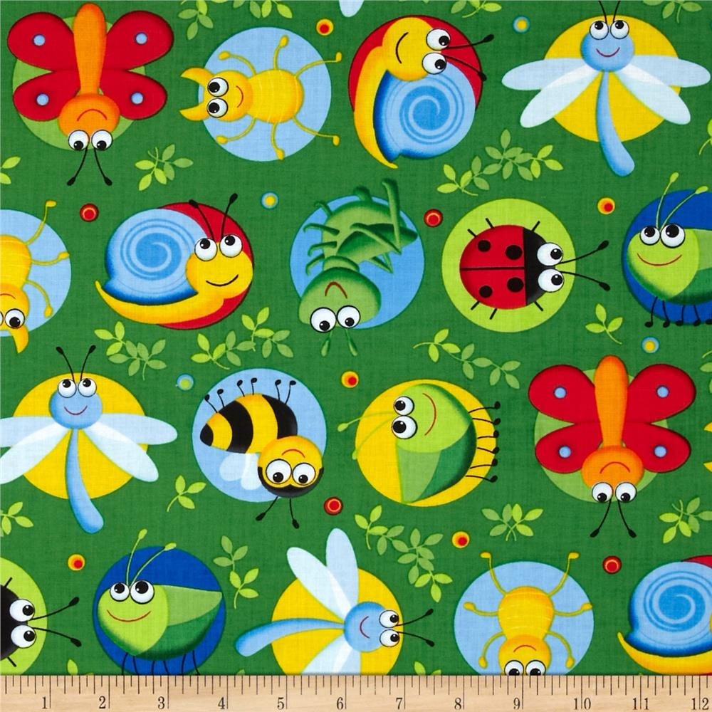 Timeless Treasures Happy Bugs Bugs on Dots Green