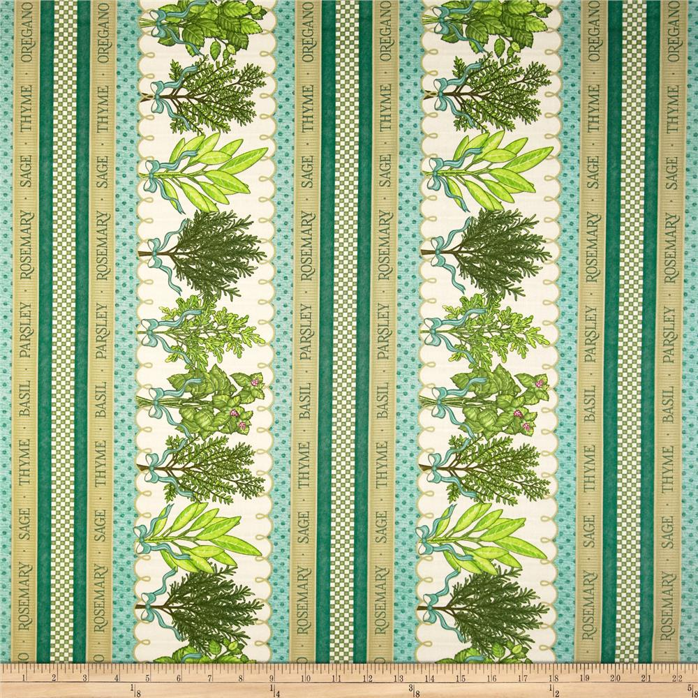 Herb Garden Stripe Cream/Teal