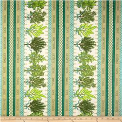 Herb Garden Stripe Cream/Teal Fabric