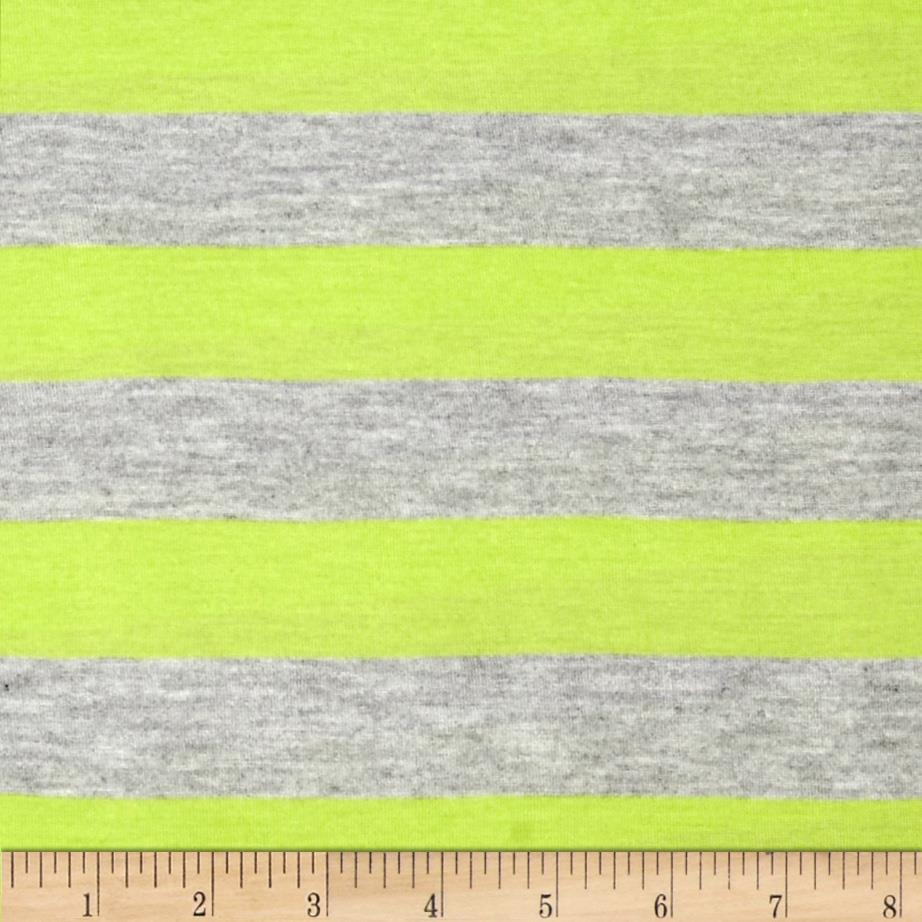 Stretch Yarn Dyed Jersey Knit Stripe Kiwi/Grey