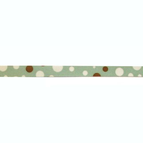 3/8'' Grosgrain Bubble Dot Ribbon Blue/Brown